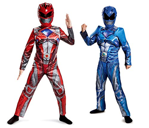 Pink And Yellow Power Ranger Costumes (Mozlly Value Pack - Power Rangers Red Costume- L10-12 AND Blue-S4-6 -2 Items)