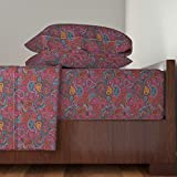 Roostery Damask 4pc Sheet Set Oriental Arabic India Paisley by Littlesmilemakers King Sheet Set made with