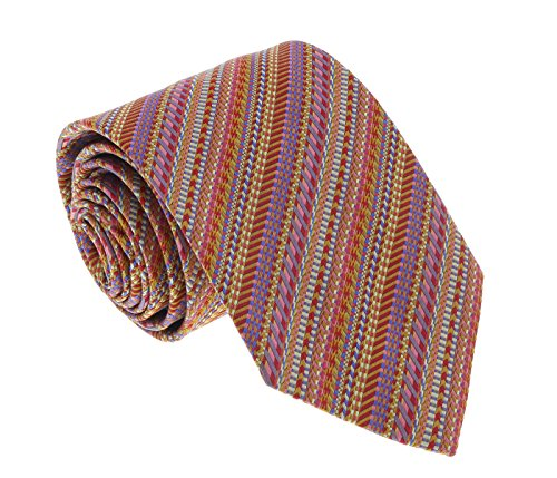 - Missoni U4297 Red/Gold Graphic 100% Silk Tie for mens