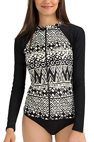 AXESEA Womens Rash Guard Long Sleeve Swimsuit Zip Sun Protection Swim Shirt Top(US 10(Read Seller Size Chart in Image), Wedge)