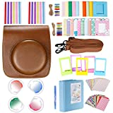 Neewer 10-in-1 Accessory Kit for Fujifilm Instax Mini 26: Brown Camera Case with Strap,Blue Album,4 Colored Filters,5 Film Table Frames,20 Wall Hanging Frame,40 Border Stickers,2 Corner Stickers,Pen
