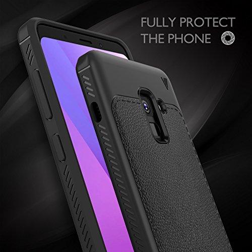 Funda Samsung Galaxy A8+ 2018,Samsung Galaxy A8 plus 2018 case, KuGi anti-rasca la Carcasa del teléfono TPU del de la imitación ninguna Case del teléfono móvil caja del teléfono Cover para Galaxy A8 P Negro