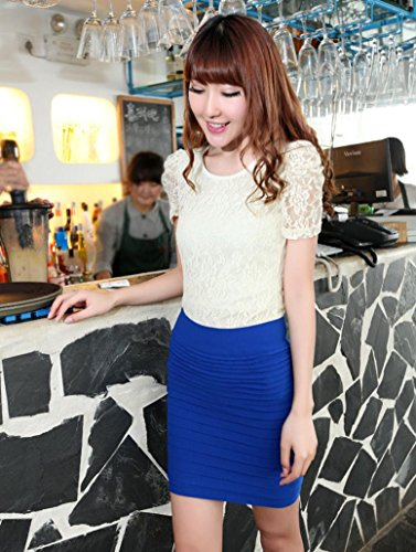 Kolylong Haute Crayon Femme D'affaires 1PC Jupe Pliss Courte Bleu lastique Jupe Taille Serr Tenue Sexy RrpR0q