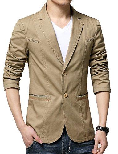 Cotton Two Button Blazer (DAVID.ANN Men's Slim Fit Two-Button Lightweight Casual Blazer Jacket,Khaki,Medium)