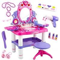 Kinderplay Tocador Niña Rosa para Niña - Tocador de Maquillaje Niña, Tocador Infantil, con Accesorios Espejo con Luz y…