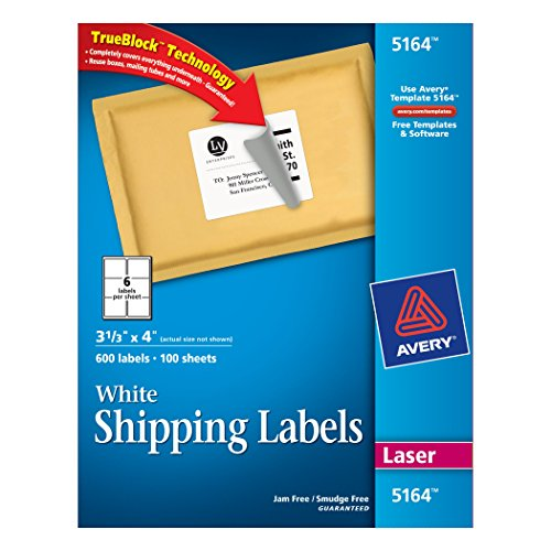 Avery Consumer Products 5164 Shipping Labels with Trueblock