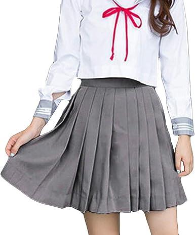 Lenfesh Gris Mujer Moda Colegio Viento Uniforme Escolar Color Puro ...