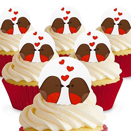 Cakeshop 12 x PRE-CUT Love Bird Robins Edible Cake Toppers