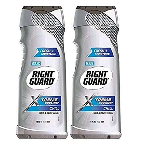 Right Guard Hair & Body Wash - Xtreme Cooling - Chill - With Aloe - Net Wt. 16 FL OZ (473 mL) Per Bottle - Pack of 2