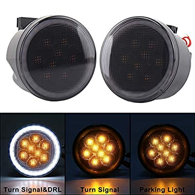 Jeep Turn Signal Lights White Halo Amber LED Smoke Lens Front Grille Parking Lights for 2007-2020 Jeep Wrangler JK & JK Unlimited: Automotive