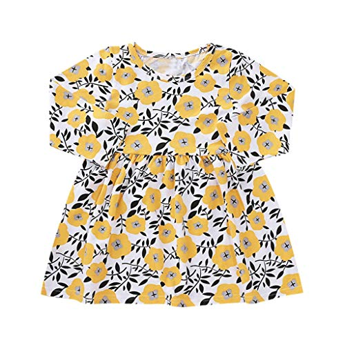 Drindf Baby Clothes Little Girls Casual Dress Toddler Long Sleeve Flower Printed Skirt Dresses One-Piece Playwear (1-4 Years) Yellow