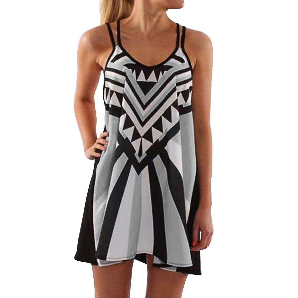 TnaIolral 2019 Women Dresses Plus Size O-Neck Camisole Sleeveless Printing Easy Mini Skirt Gray