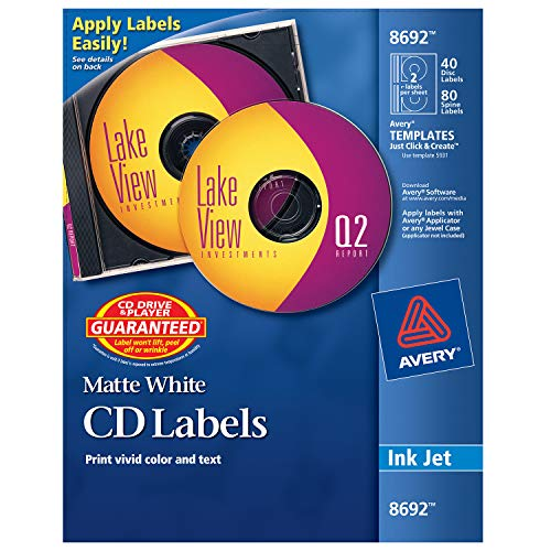 Avery CD Labels, Matte White, 40 Disc Labels and 80 Spine Labels ()