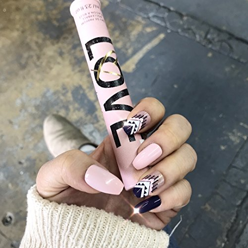 LEI GLOSSY FINISHED NAVY PINK W/ GEO TRIBAL PRESS ON NAILS by The Nailest