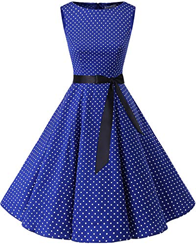 Bbonlinedress Women's 1950s Audrey Summer Vintage Rockabilly Swing Dress RoyalBlue White Dot S
