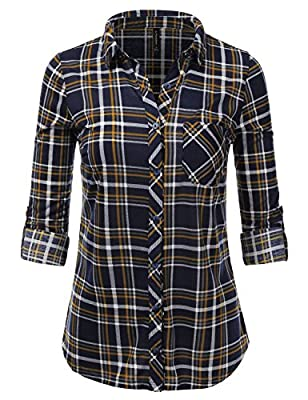 JJ Perfection Womens Long Sleeve Collared Button Down Plaid Flannel Shirt NAVYMUSTARD S
