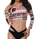 ADAHOP Women's Plus Size Bikini Set Long Sleeve Rash Guard Swimwear