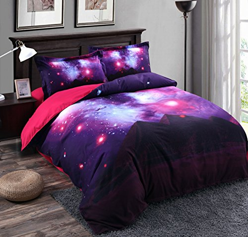Price comparison product image Alicemall 3D Galaxy Bedding Purple Red Blue Shining Stars and Pyramid Prints 4-Piece Duvet Cover Sets Cool Galaxy Bedroom Sheets Sets, No Comforter, King Size Bedding (King, Pyramid & Galaxy)