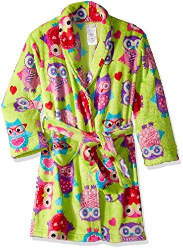 Komar Kids Big Girls' Owl Velvet Fleece Robe, Green Print, - Print Fleece Robe