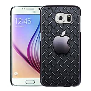 NEW Unique Custom Designed Samsung Galaxy S6 Phone Case With Metallic Pattern Apple Logo_Black Phone Case