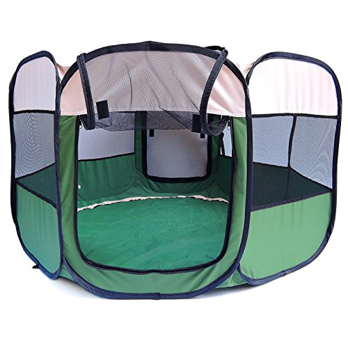 Mcboson 47'' Pets Portable Foldable Pet Playpen Tent Water Resistant Extra Interior Space Play Yard, Portable Kennel for Your Dogs, Cats, Puppy or Guinea (Mobile Pet Pen)