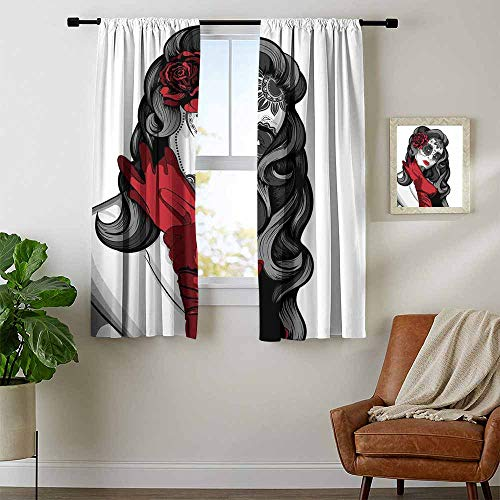 Mozenou Skull, Window Curtain Drape, Sexy Sugar Skull Lady with Mexican Style Floral Mask Evil Gothic Dead Art, Kids Room Artwork 2 Panels Set, W72 x L72 Inch Grey White Black Red ()