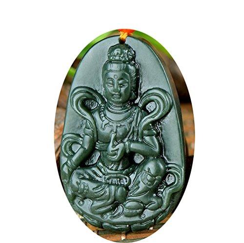 Natural Green jade Hand carved Kwan-yin Goddess Bodhisattva Buddha Pendant necklace ST