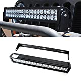 "iJDMTOY 20"" 120W High Power Double-Row Straight LED Light Bar with Universal Cradle Mount U-Bracket For Truck SUV Jeep 4x4 ATV, etc"
