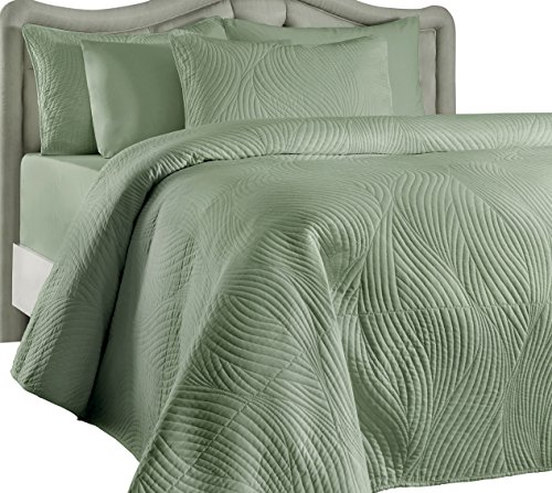 Great Deal! Brielle Stream Quilt and Sham Set, Twin, Grey