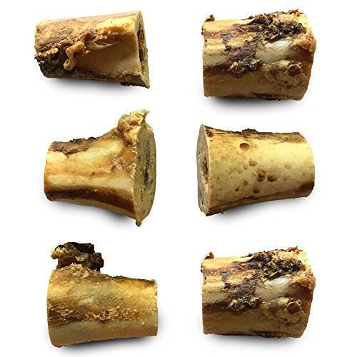 "de Roasted Beef Marrow Bone Treats (6 Pack) – 3"" Long All Natural Gourmet Dog Treat Chews – Savory Smoked Beef Flavor ()"
