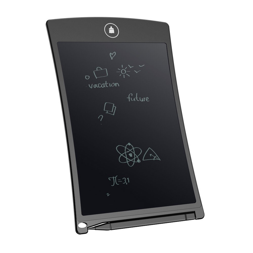 LCD Writing Tablet, Durable Handwriting Tablet Rewritten Pad Drawing Board Gift in School, House, Office, Car for Kids, Designer, Teacher, Student Carry Easily Built-in button Battery-Black (8.5in)