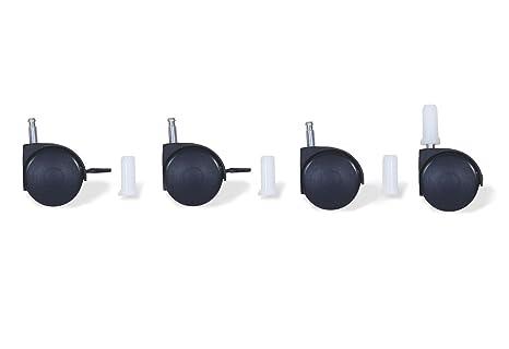 Pinolino 560011 - Juego de ruedas para cuna con enganche de pivote, color negro