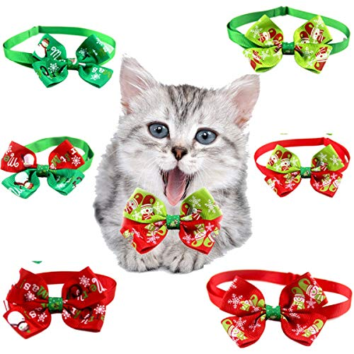 HERRA 6pcs Adjustable Christmas Dog Cat Collar Dog Cat Bow Ties Pet Bows Collar Puppy Dog Cat Bowties Collar Adjustable…