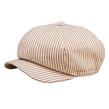 Cotton Adjustable Newsboy Caps Girls Baby Boys Vertical Stripes Painter Flat Hats