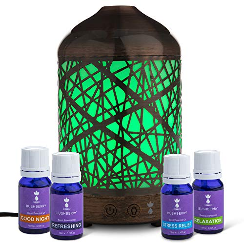 Aromatherapy Essential Oil Diffuser Gift Set - Ultrasonic, Cool Mist Humidifier and Color Changing LED Lights - Decorative Scent Vaporizer Night Lamp For Gift, Home, Office, Kids