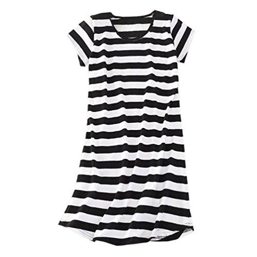 ENJOYNIGHT Women's Sleepwear Cotton Sleep Tee Short Sleeves Print Sleepshirt (Large, Line) - Dog Nightshirt