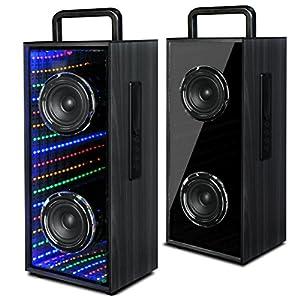 Handheld Wireless Bluetooth Stereo Speaker Infinity Lights Street Dancing Christmas Lights Outdoor Speaker Waterproof LED Light Show Party Speaker with Infinity Pulse Light