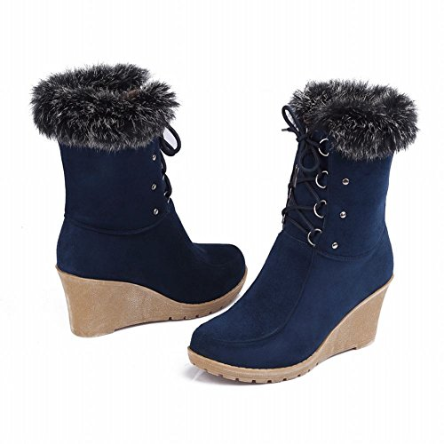 Carol Shoes Women's Concise Single Color Wedges Bandage Platform Short Boots Dark Blue 3txBoXt