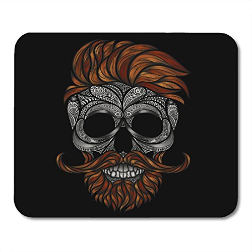 Boszina Mouse Pads Anatomy Black Drawn Red Dead Hipster With Beard And Mustache Human Skull Made Of Flowers Hand Ancient Mouse Pad For Notebooks Desktop Computers Mats 9 5  X 7 9  Office Supplies