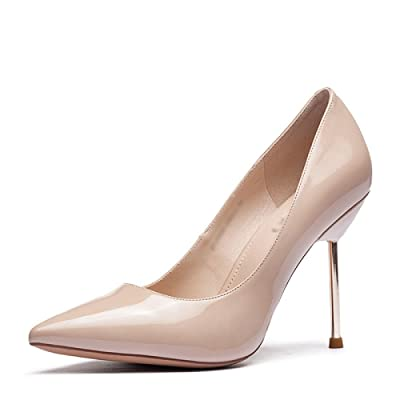 MHSXN Mme Mode Pompes OL Stiletto Pointu Chaussures Lady Confortable Noir Beige Chaussures de Soirée