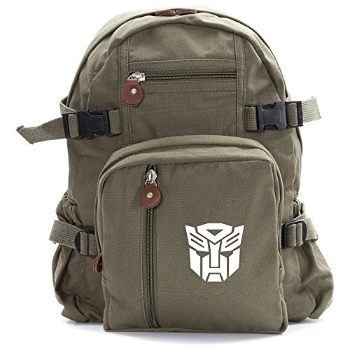 Autobot Transformers Logo Army Sport Heavyweight Canvas Backpack Bag in Olive & White, Small