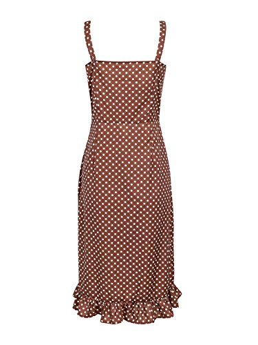 Polka Women's Brown Midi Dress Dot Casual Strap Ruffle Sleeveless BerryGo Vintage dOXCwqX