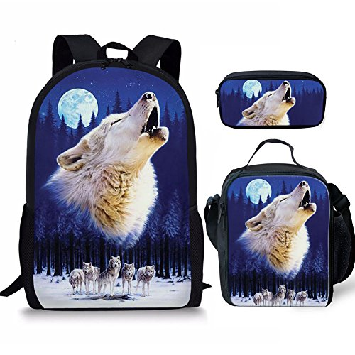 FANCOSAN Whistling Wolf Designer Kids Big School Bookbag Backpack & Lunch Bag & Pencil Holder Set 3-Pieces