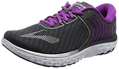 Brooks Women's PureFlow 6 Anthracite/Silver/Purple Cactus Flower 5 B US