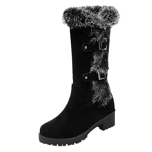 Yiiquan Damen Niedriger Absatz Beiläufig Schneeschuhe Rutschfest Warme Stiefel Mittlere Höhe