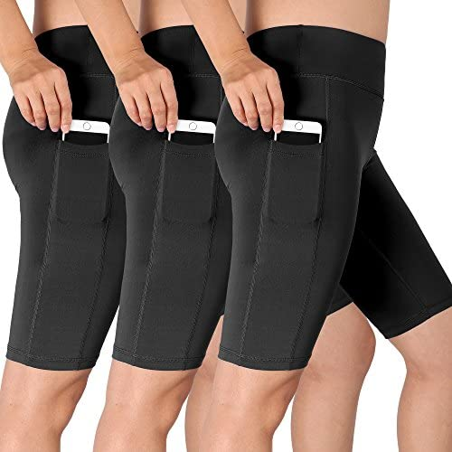 cdb112012f Cadmus Women's 3 Pack High Waist Athletic Running Workout Shorts With Pocket