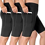 Cadmus Women's 3 Pack High Waist Athletic Running Workout Shorts with Pocket