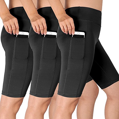 Cadmus Women's High Waist Athletic Running Workout Shorts with Pocket,3 Pack,06,Black,Large - Womens Spandex Compression Shorts