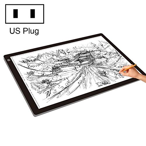 QingBo 23W 12V LED Three Level of Brightness Dimmable A2 Acrylic Copy Boards Anime Sketch Drawing Sketchpad, US Plug by QingBo-US