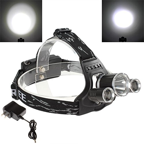 OriGlam® 90 Degree Rotatable Super Bright 1200LM XM-L T6 + 2 x R5 LED Rechargeable Headlamp with Charger